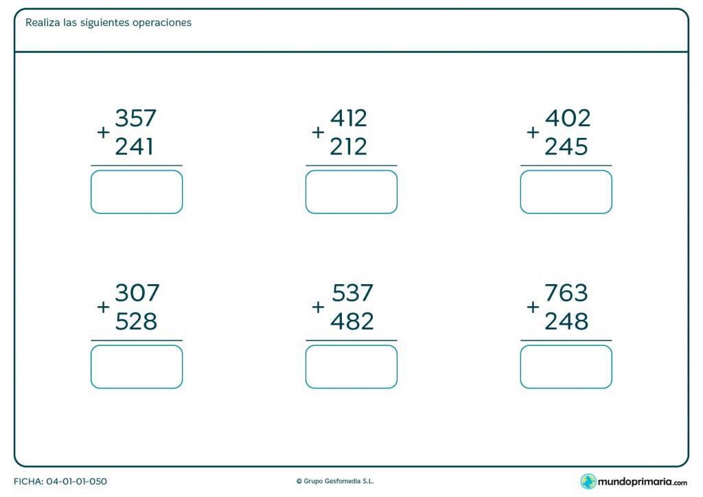 Ficha de practicar sumas para Primaria