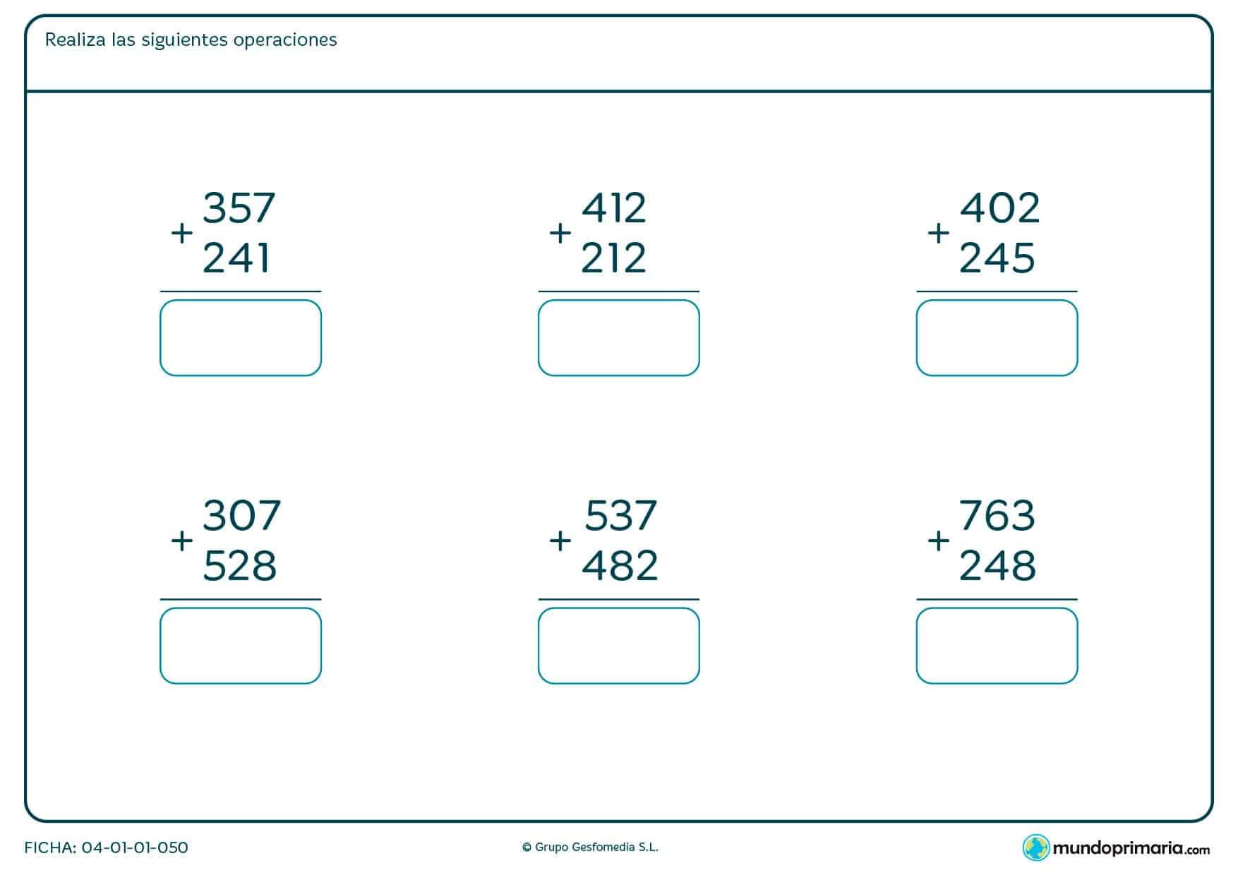 Ficha de practicar sumas para Primaria por la que los niños tendrán que resolver las sumas propuestas y escribir el resultado en el cuadro.