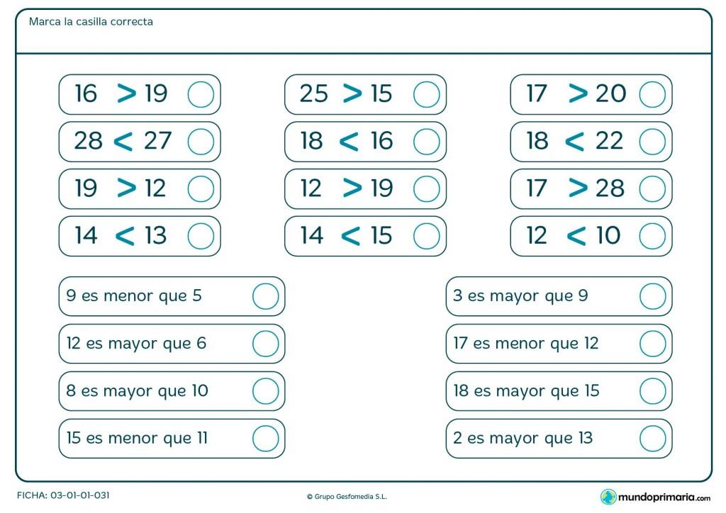 Ficha de qué número es mayor o menor para Primaria