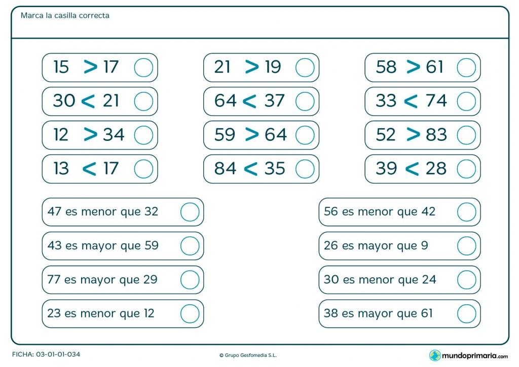 Ficha de qué signos de mayor o menor son correctos para Primaria