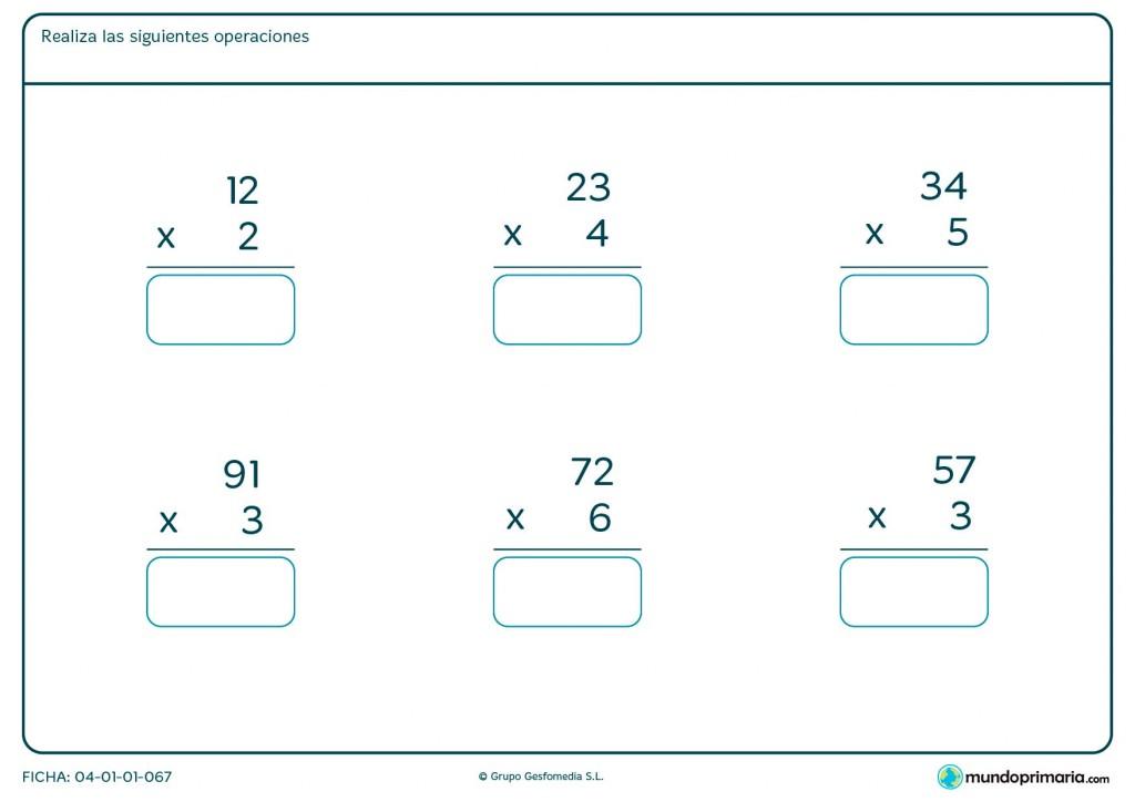 Ficha de realizar multiplicaciones sencillas para Primaria