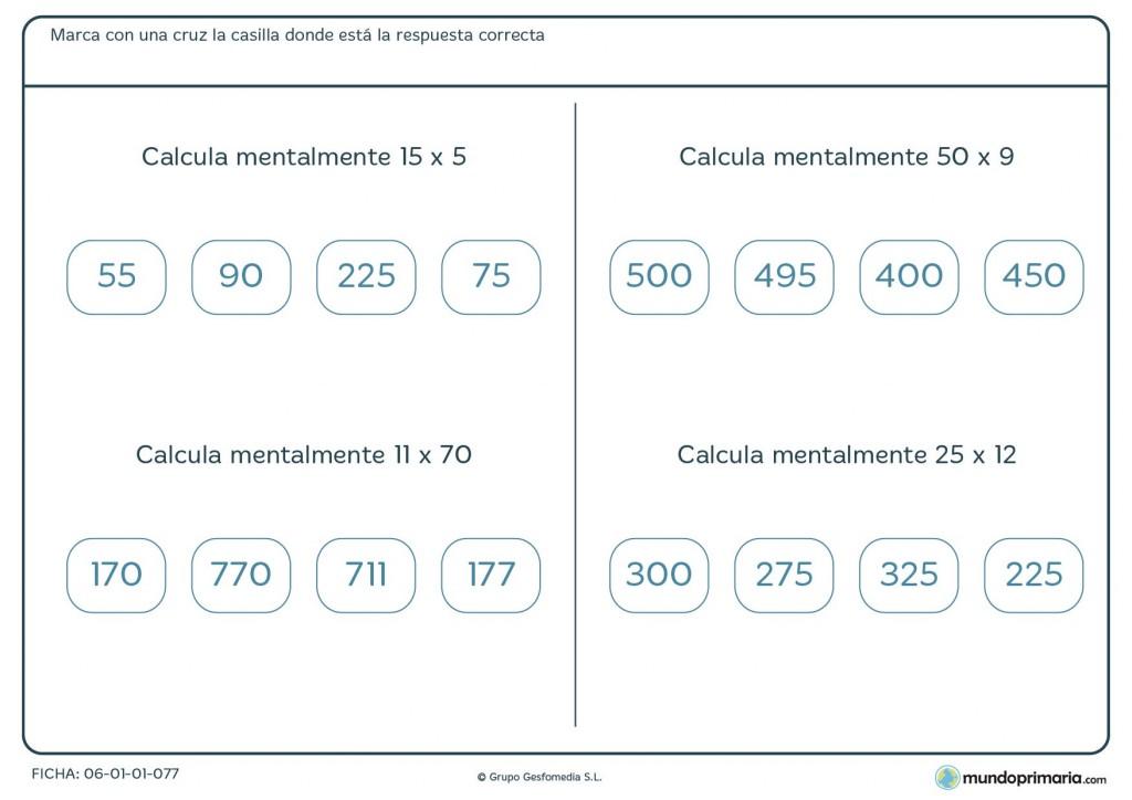 Ficha de resolver las multiplicaciones mentalmente para Primaria