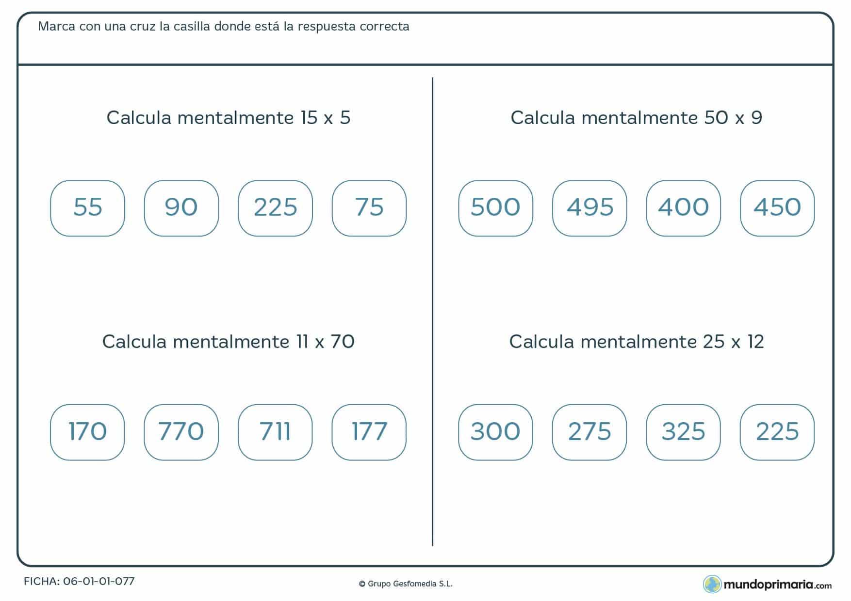 Ficha con cuatro ejercicios de resolver multimplicaciones mentalmente propuesta para alumnos de cuarto de Primaria