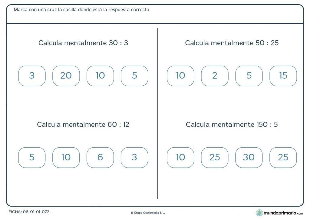 Ficha de resolver mentalmente divisiones para cuatro de Primaria