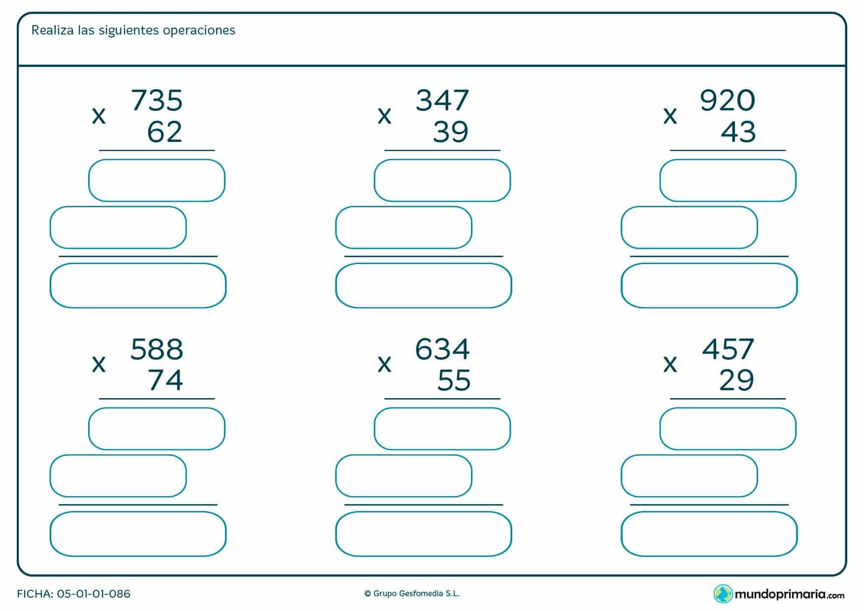 Resuelve las seis multiplicaciones con llevada de esta ficha.