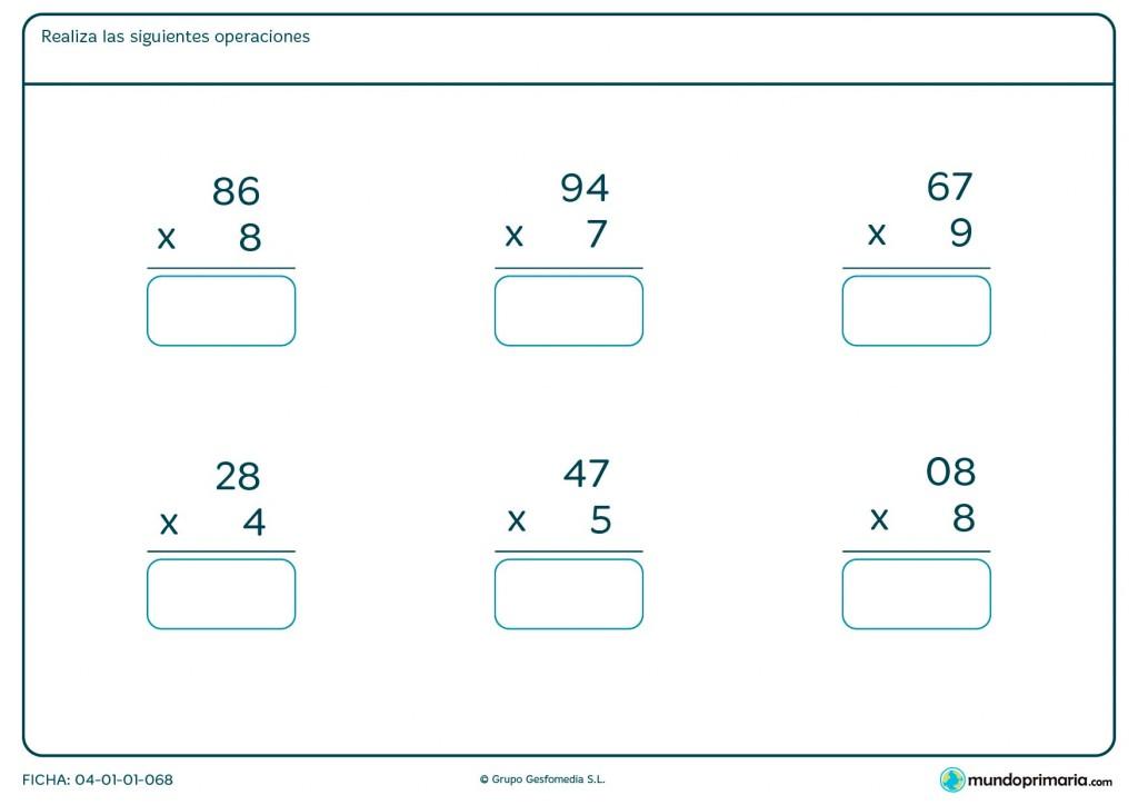 Ficha de resolver multiplicaciones fáciles para Primaria