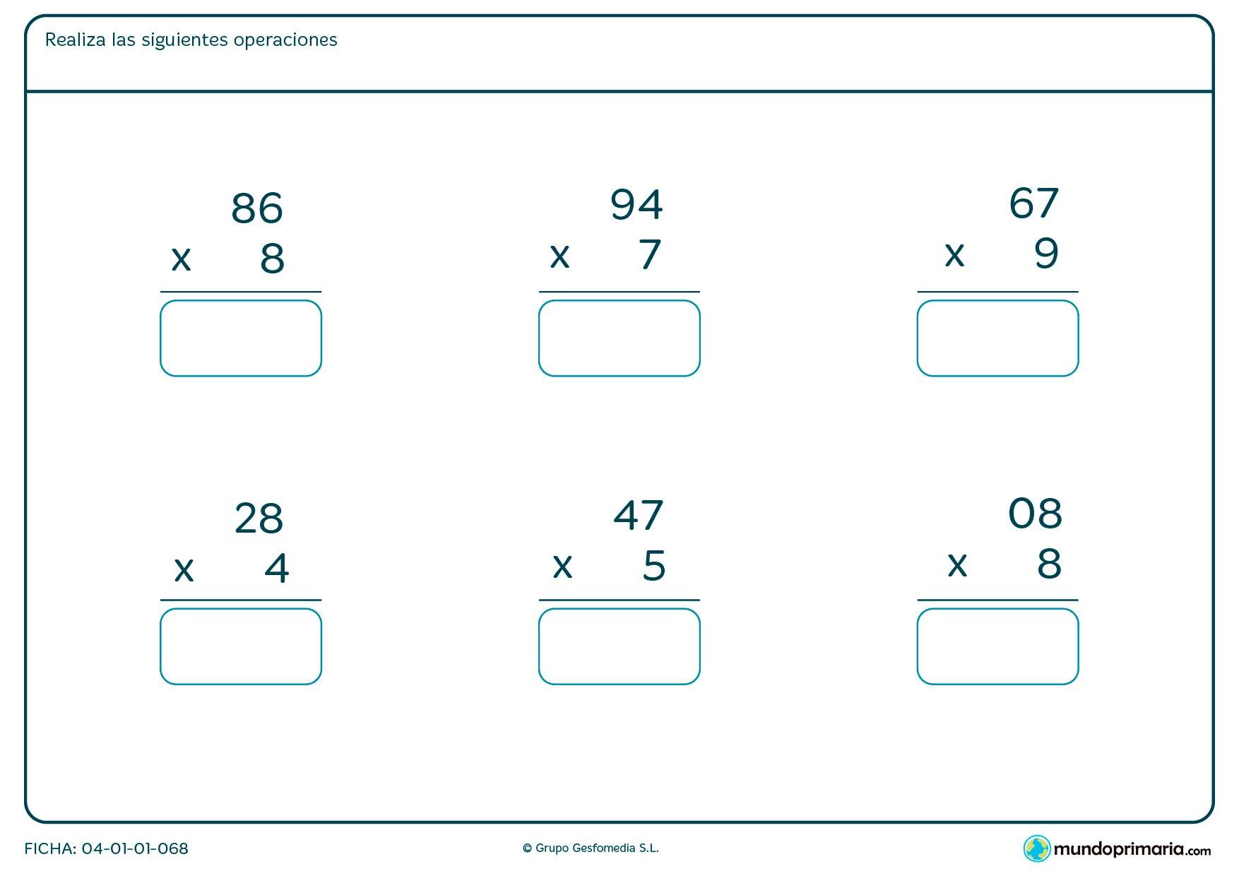 Ficha de resolver multiplicaciones fáciles para Primaria por la que el niño tendrá que escribir la solución de las multiplicaciones que se proponen.
