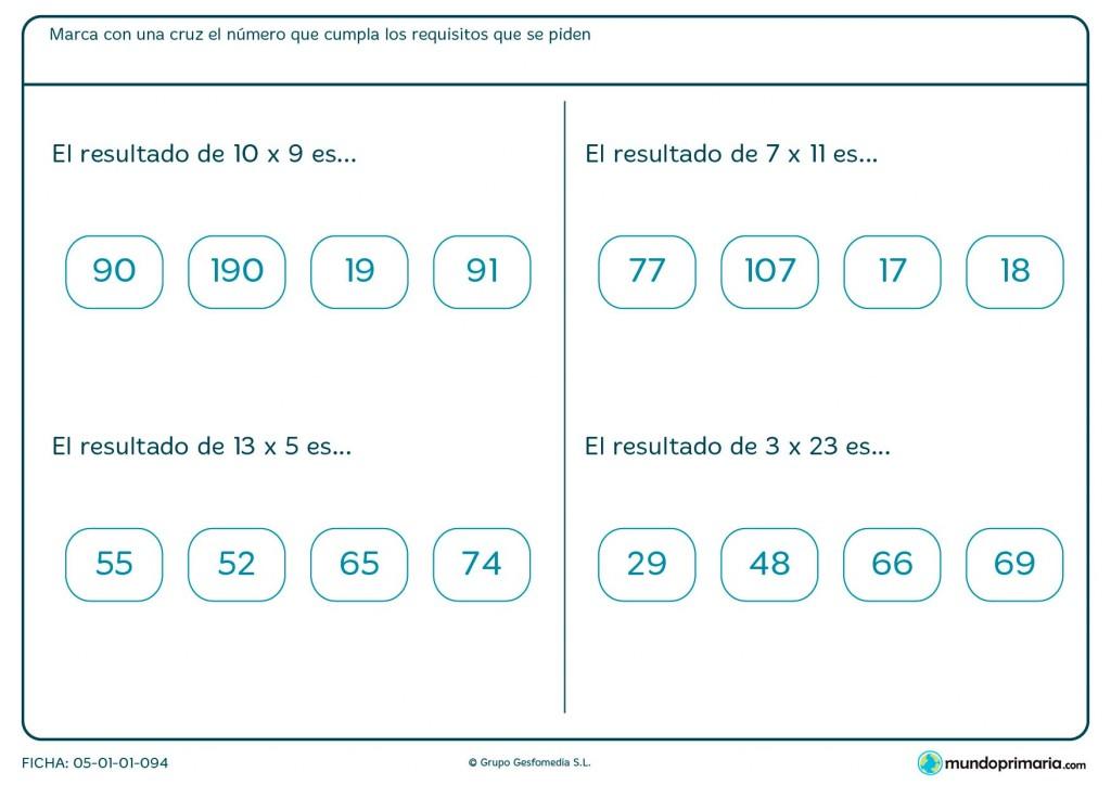 Ficha de resolver multiplicaciones horizontales en Primaria