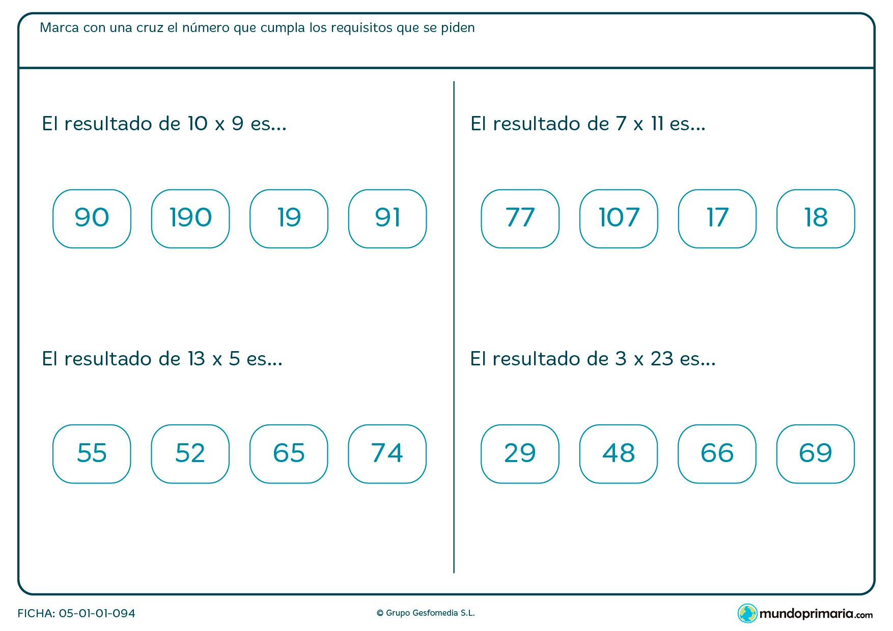 Resuelve estas multiplicaciones y marca las soluciones.