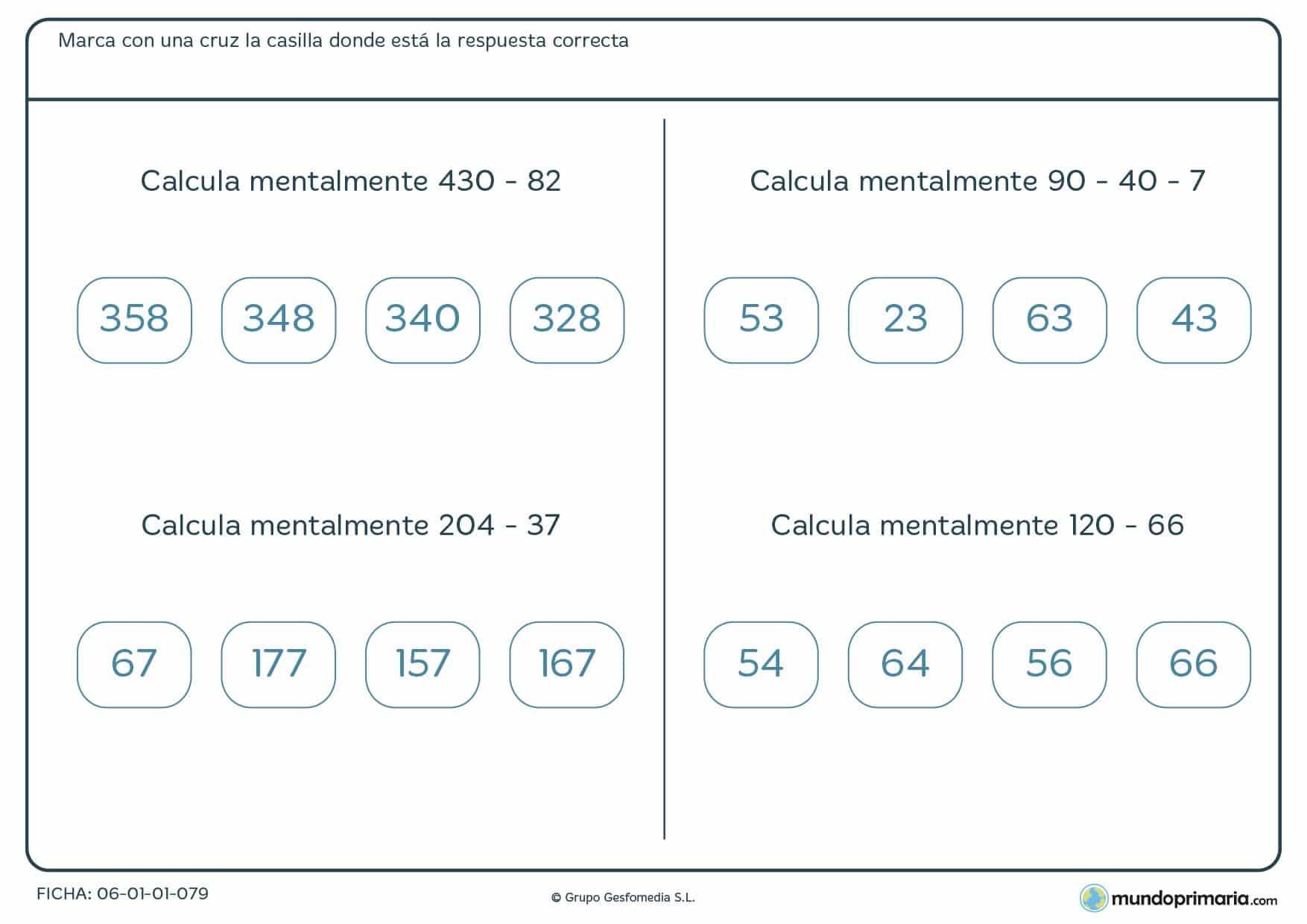 Ficha de resolver operaciones de restar mentalmente para alumnos de cuarto de Primaria con cuatro ejercicios a resolver