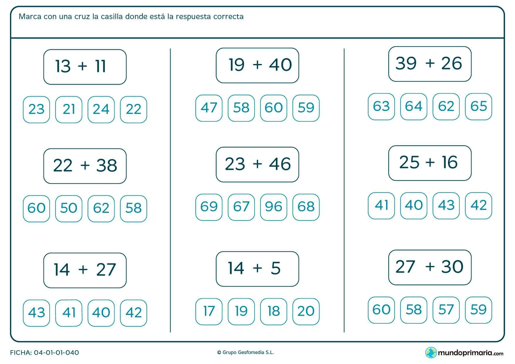 Ficha de resolver sumas para Primaria por la que los niños tendrán que resolver una serie de sumas sencillas.
