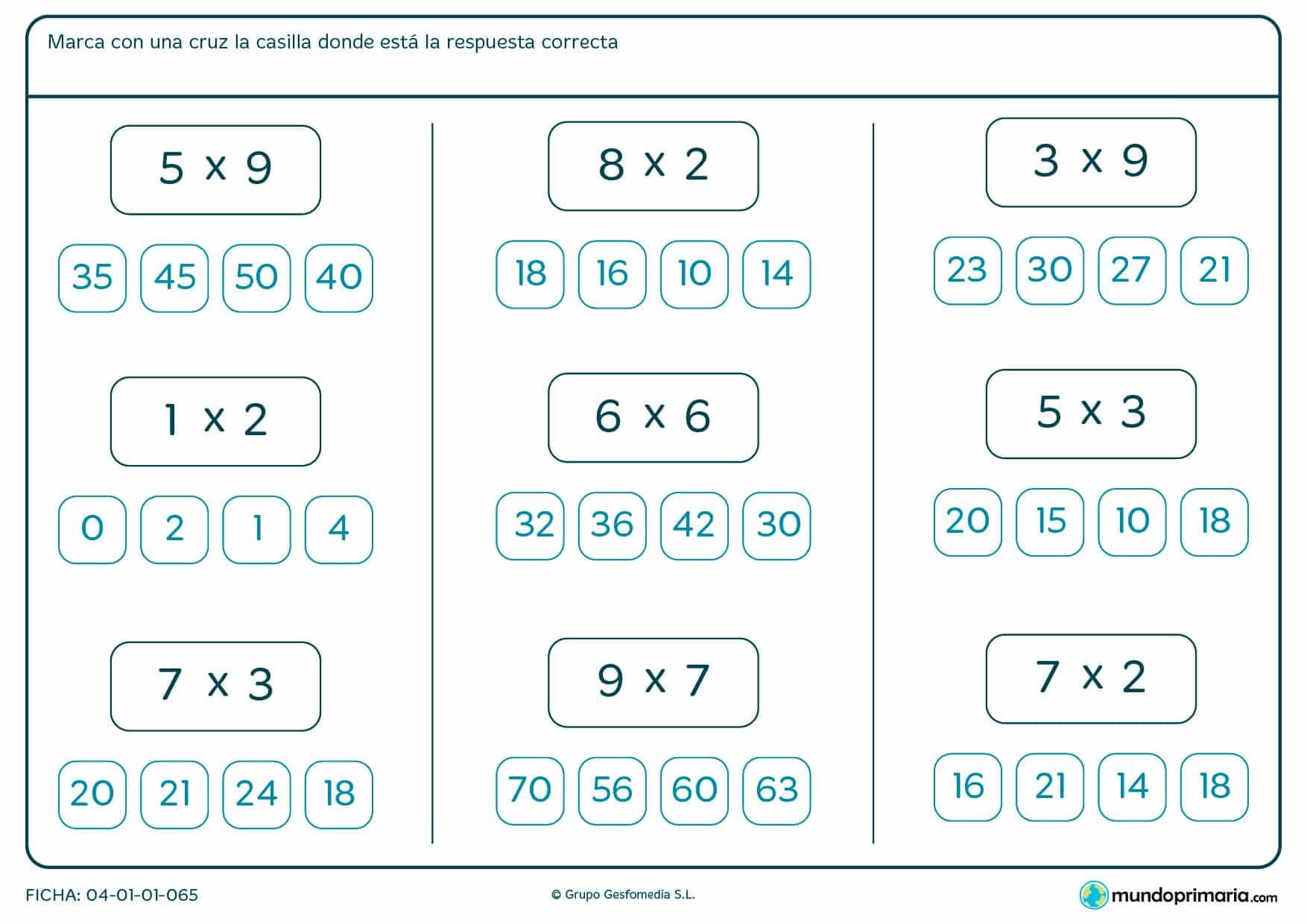 Ficha de rodear el resultado de las multiplicaciones para Primaria por la que los niños tendrán que marcar con una cruz el resultado correcto de las multiplicaciones que aparecen.