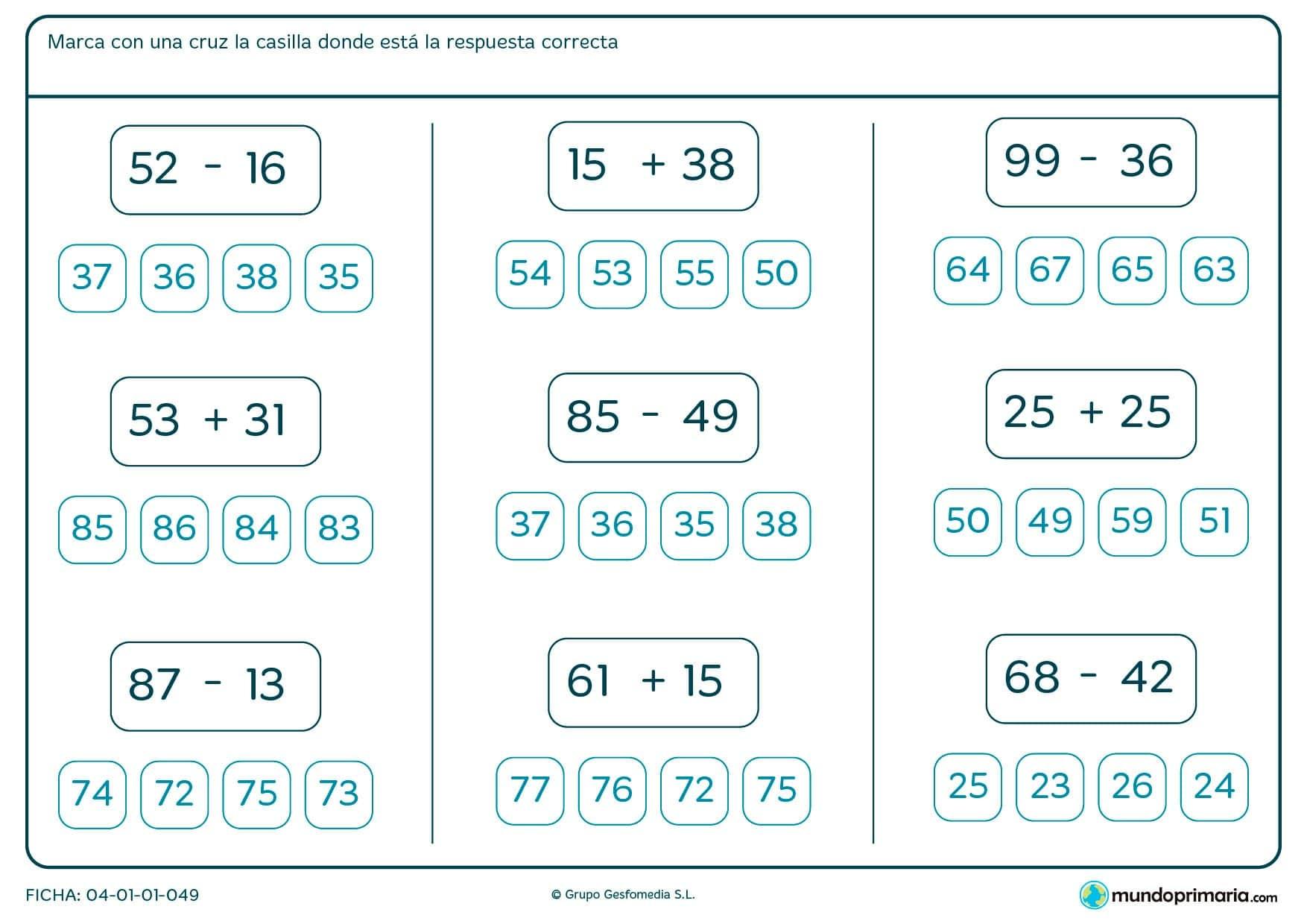 Ficha de saber el resultado correcto de las operaciones para Primaria por la que los niños tendrán que realizar las sumas y restas sencillas presentadas e indicar el resultado correcto en cada caso.