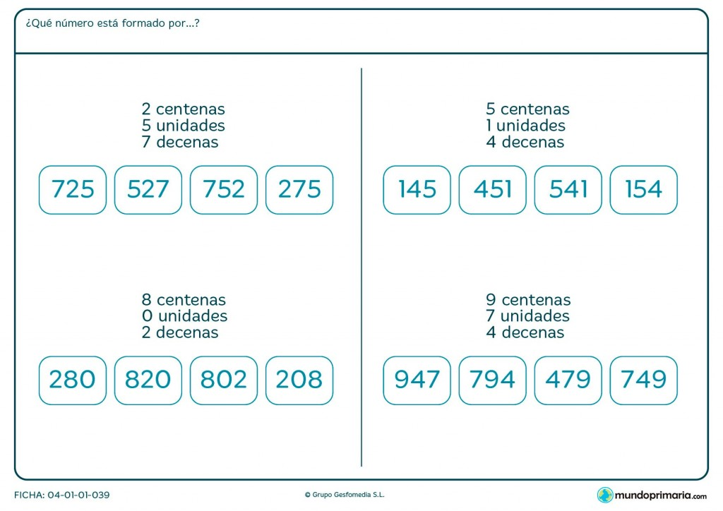 Ficha de señalar el número formado por dos centenas para Primaria