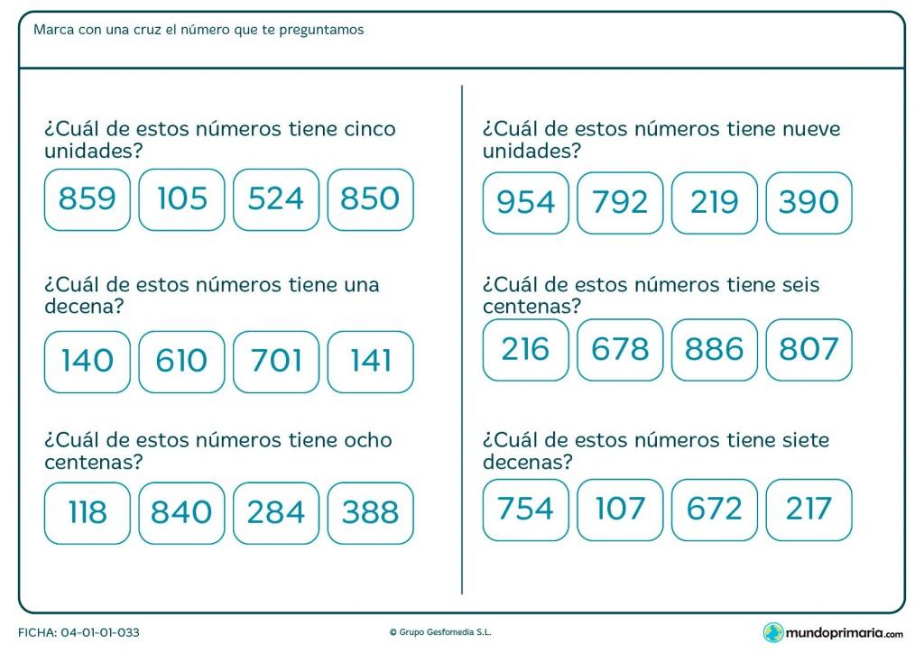 Ficha de señalar el número según la condición para Primaria