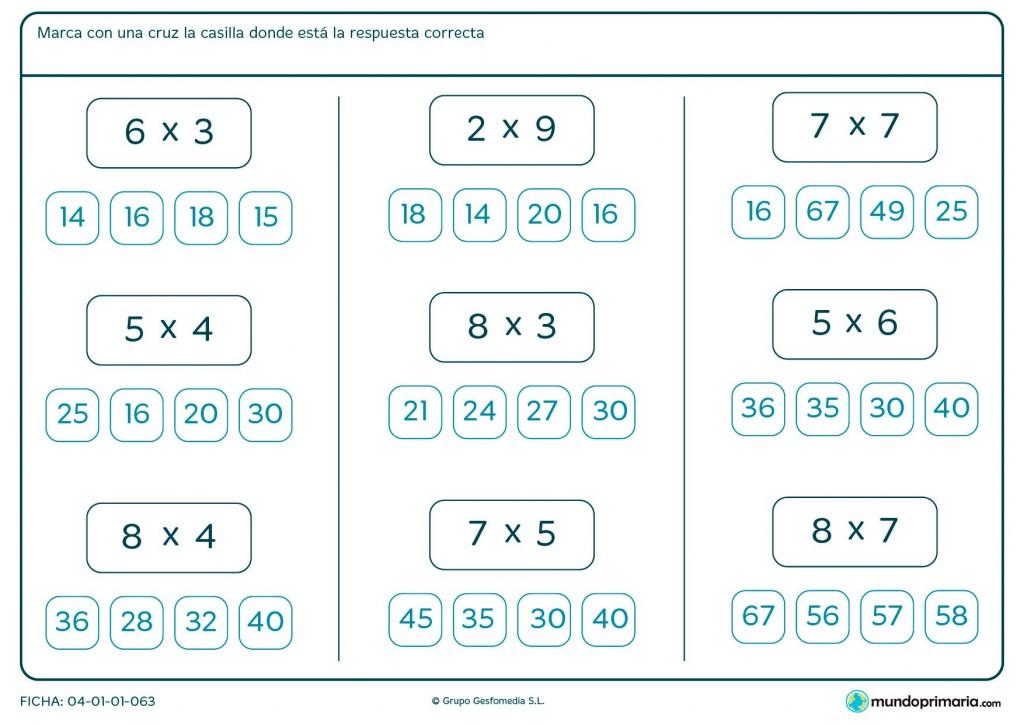 Ficha de seleccionar el resultado de multiplicaciones para Primaria
