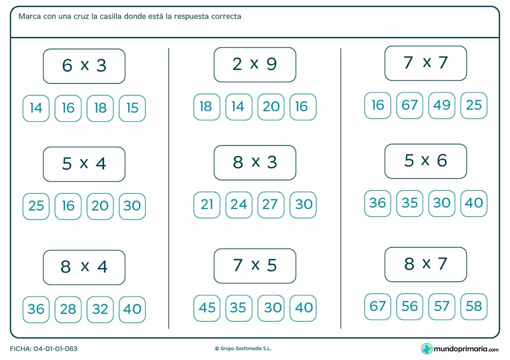 Ficha de seleccionar el resultado de multiplicaciones para segundo de Primaria por la que los niños tendrán que indicar cuál es el resultado de estas multiplicaciones sencillas eligiendo entre los posibles.