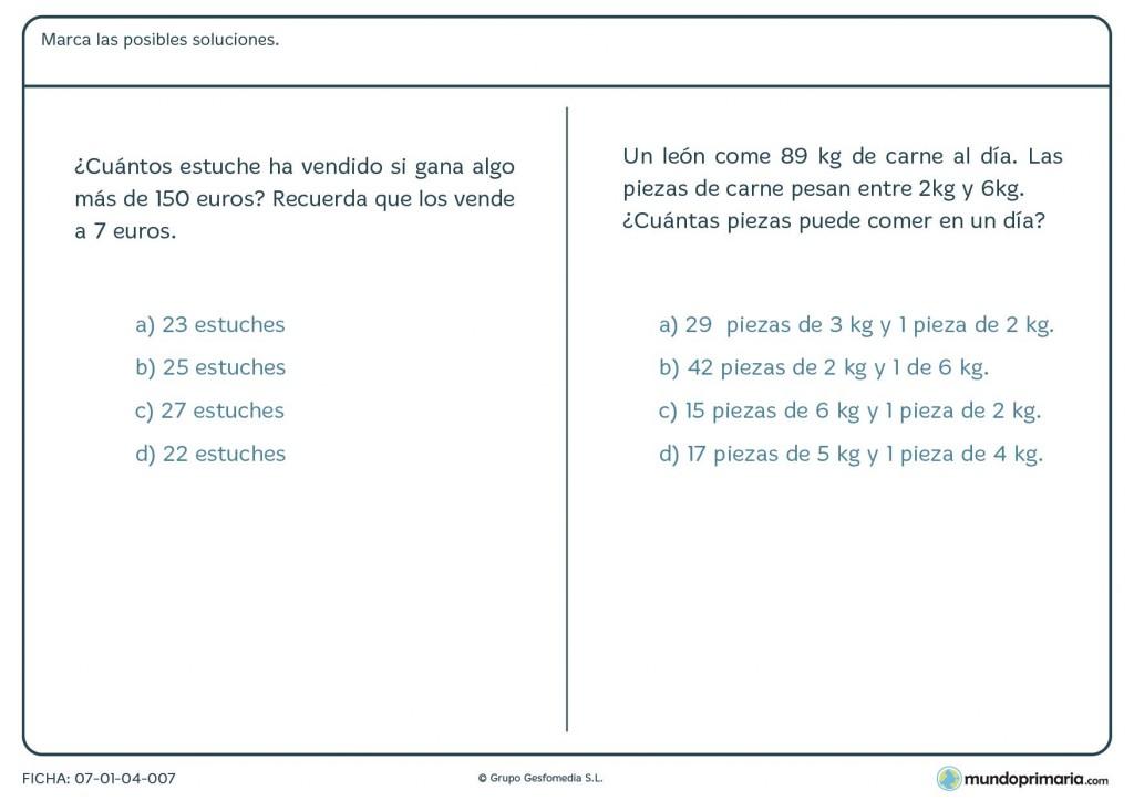 Ficha de soluciona el problema con distintas operaciones para Primaria