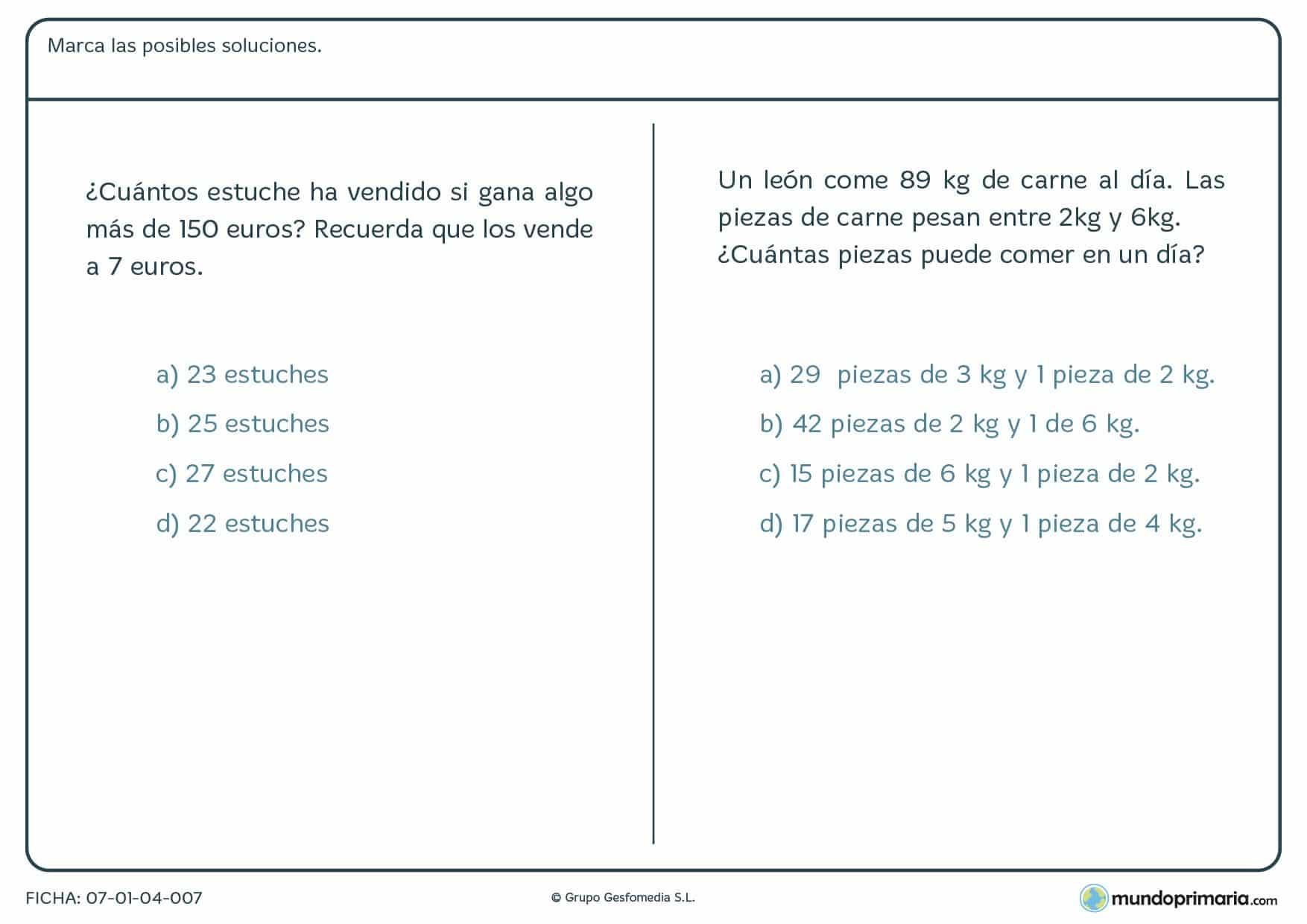 Ficha de soluciona el problema con distintas operaciones para quinto de Primaria por la que los niños tendrán que leer el enunciado y elegir entre las posibles soluciones dadas.