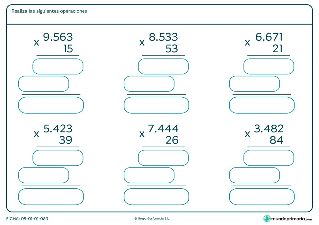 Ficha de solucionar multiplicaciones de cuatro cifras para Primaria