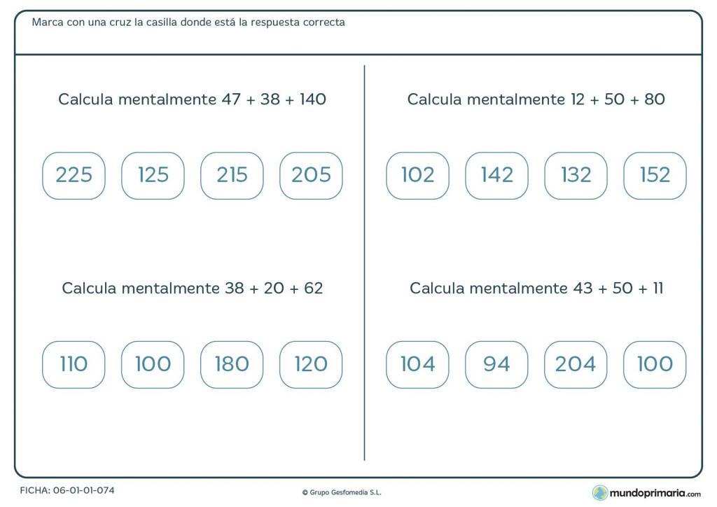 Ficha de solucionar sumas de tres números para 4º de Primaria
