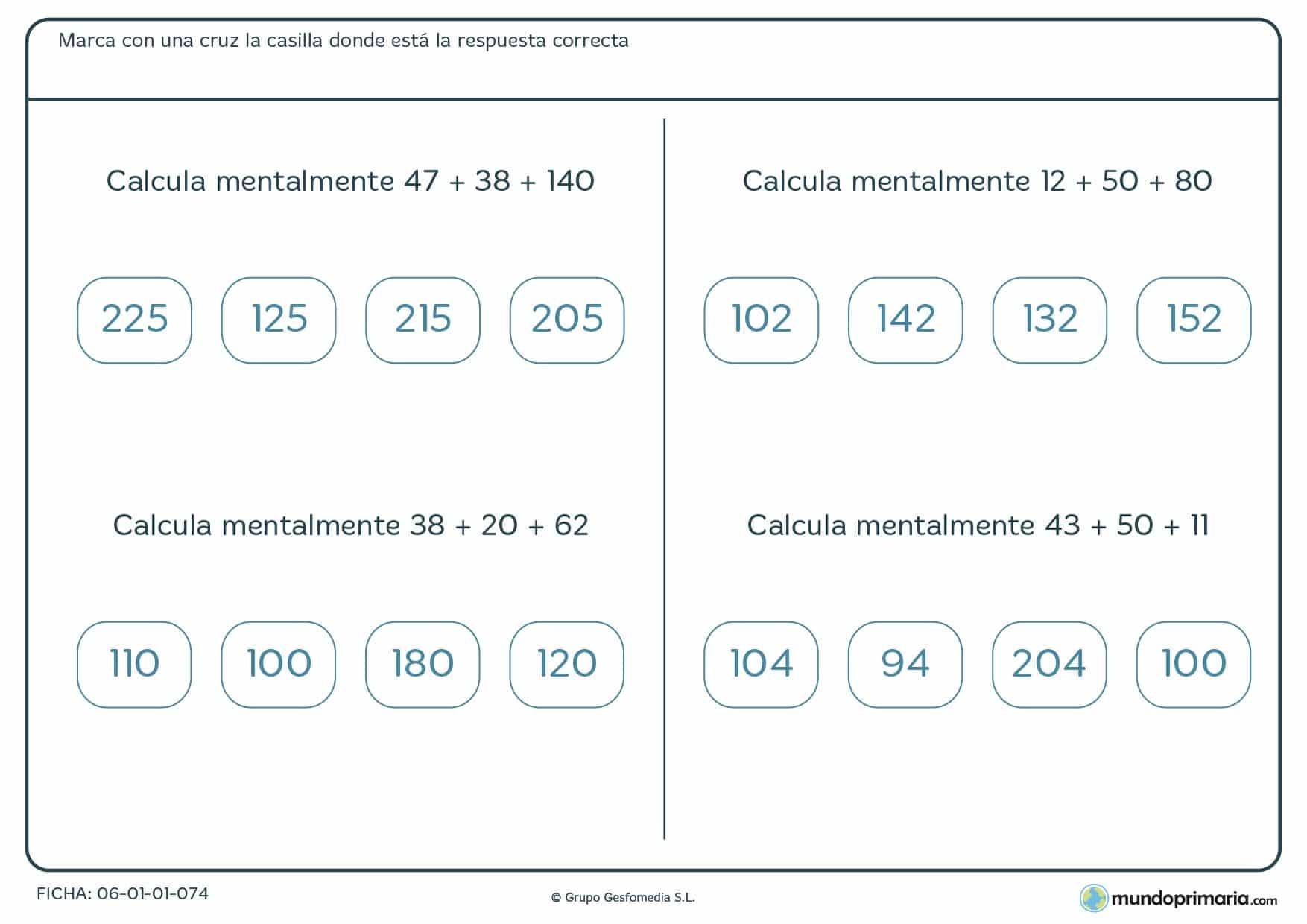 Ficha con cuatro ejercicios de solucoinar sumas de tres números, recomendada para 4º de Primaria