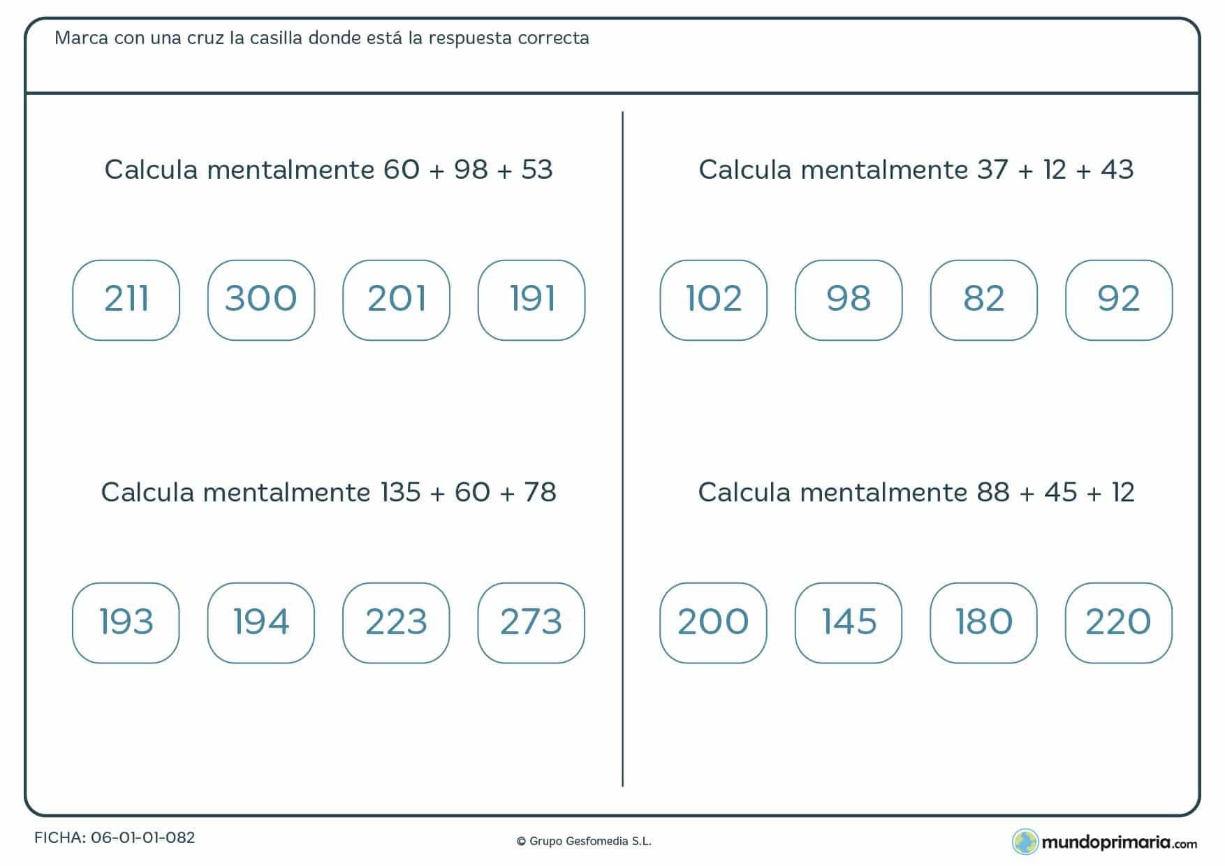 Ficha con cuatro cuentas centrada en solucionar una suma de tres números mentalmente, recomendada para niños de 9 y 10 años