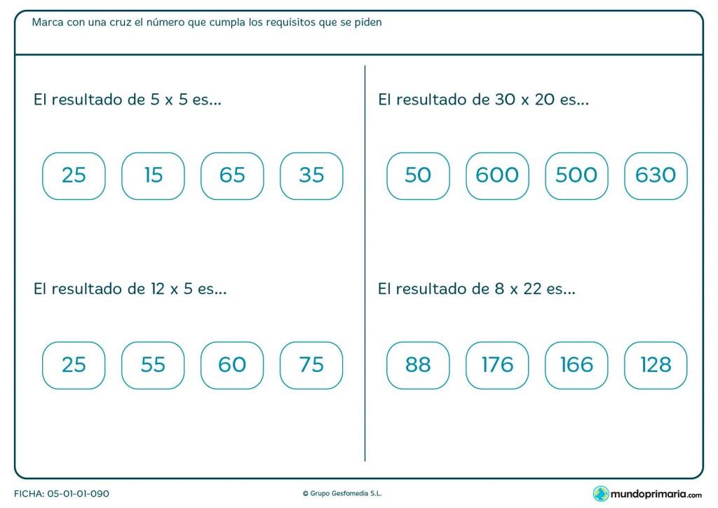 Ficha de tablas y multiplicaciones sencillas para Primaria