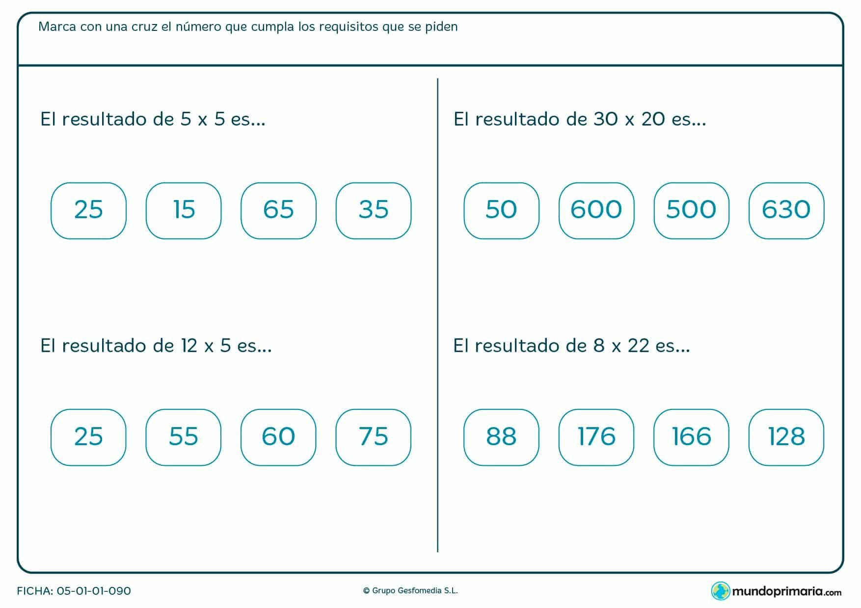 Repasa las tablas de multiplicar y las multiplicaciones más sencillas con esta ficha.
