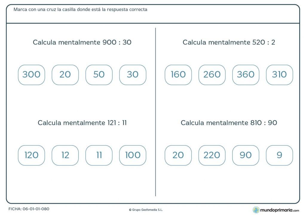 Ficha de usar el cálculo mental con divisiones para 4º de Primaria