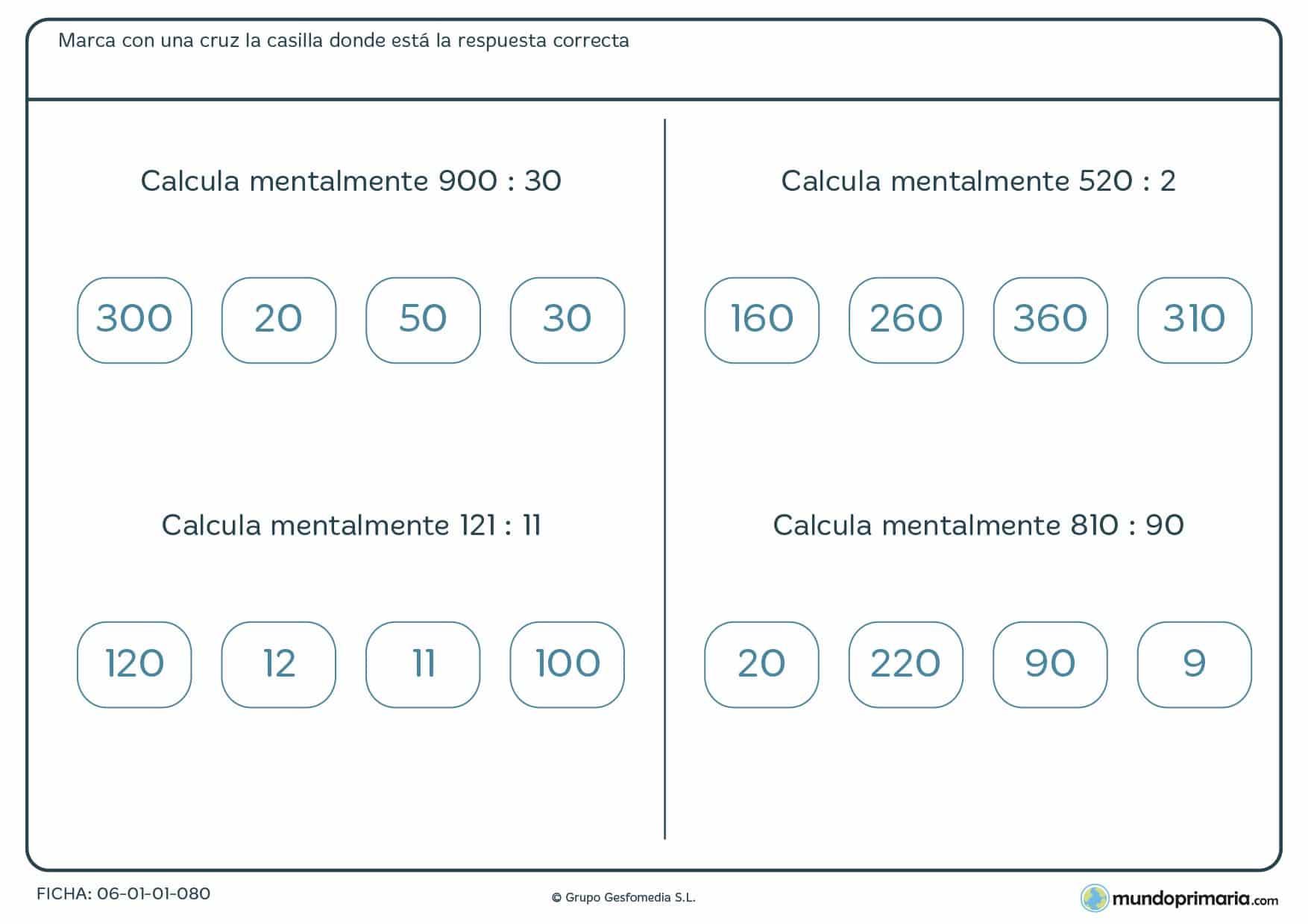 Ficha para alumnos de cuatro de Primaria de usar el cálculo mental con divisiones recomendada como repaso de la asignatura de matemáticas