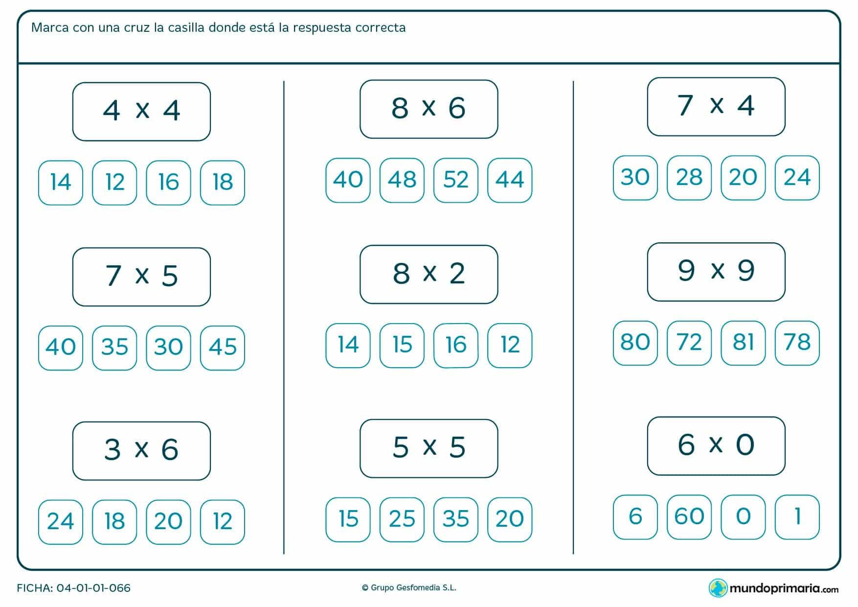 Fichar de multiplicar y marcar el resultado para segundo de Primaria por la que los niños tendrán que señalar cuál es el resultado de las multiplicaciones que se presentan.