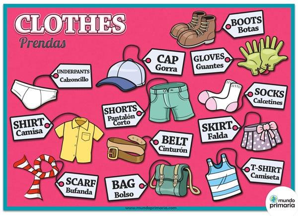 La ropa en inglés: Infografía educativa para primaria