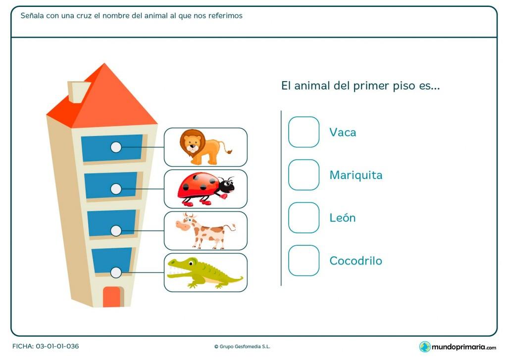 Ficha de identificar el orden de los pisos para Primaria