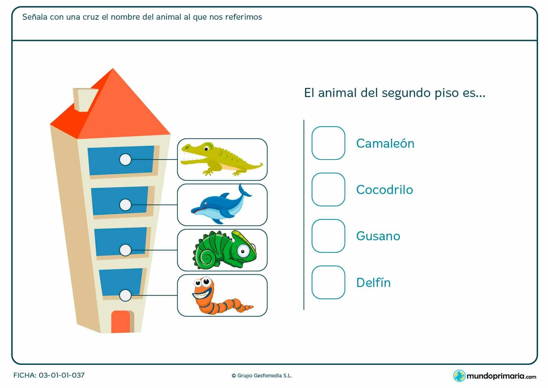 Ficha de señalar en qué piso está el animal en el que que hay que indicar con una cruz el nombre del animal del segundo piso.