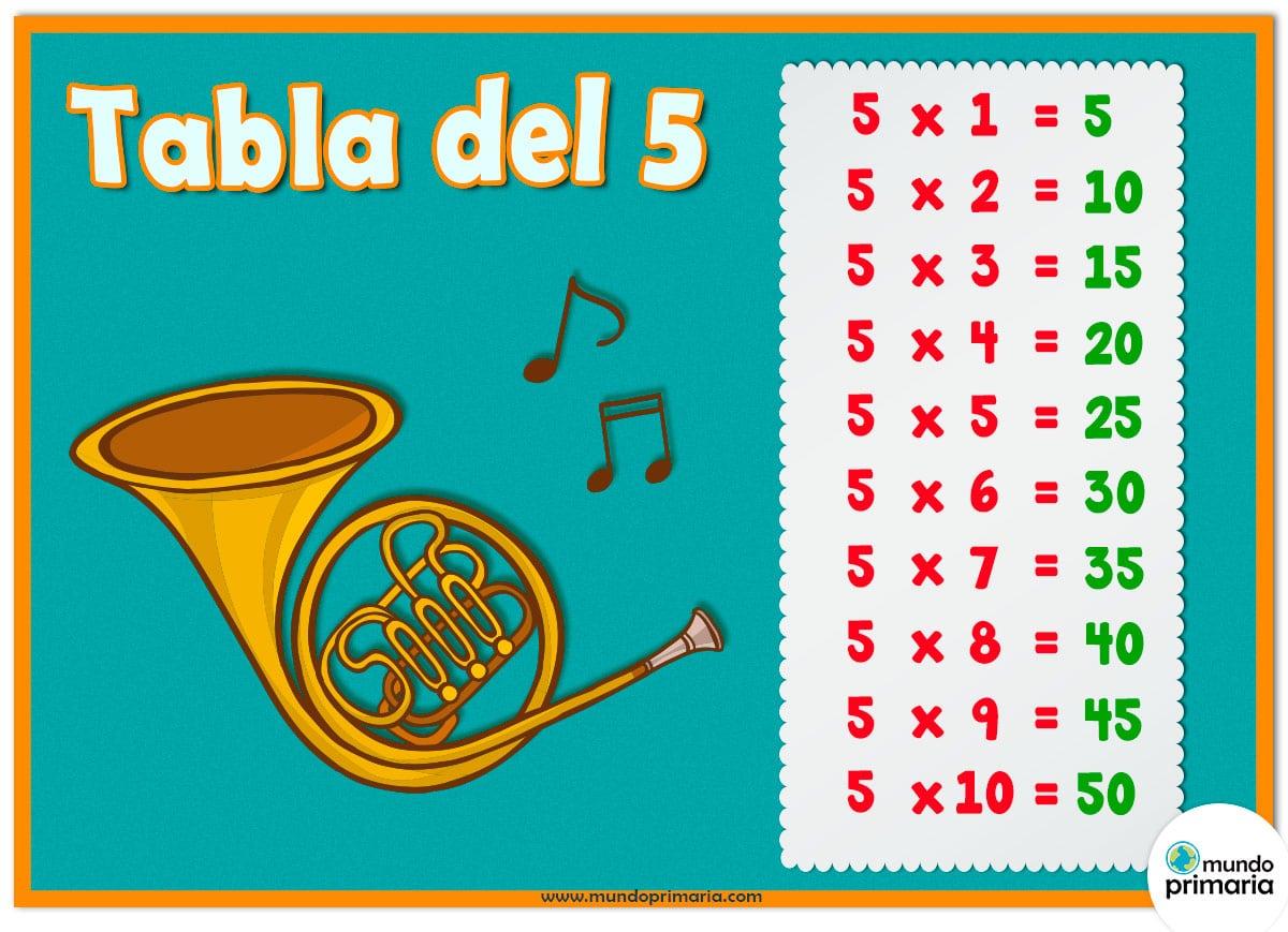 tabla del 5 y los instrumentos musicales para niños de Primaria