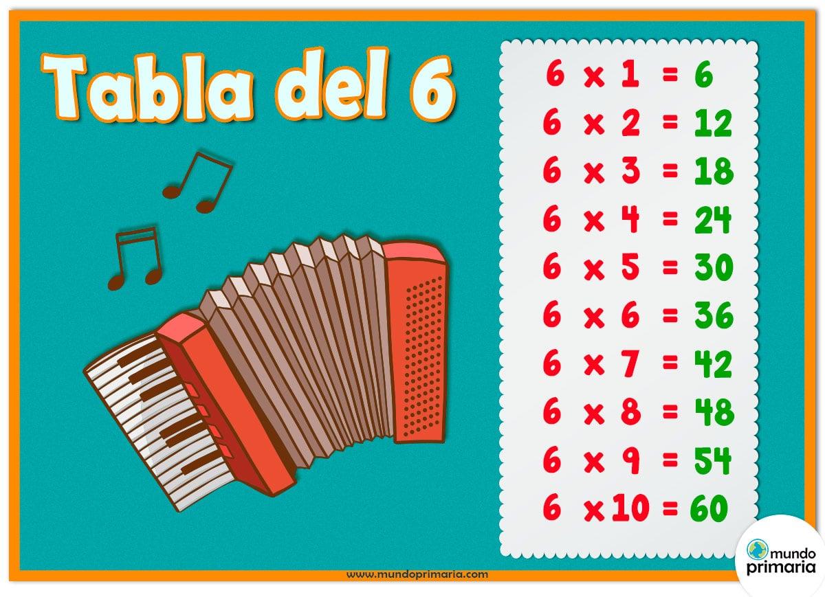 Tabla del 6 con instrumentos musicales, el acordeón para niños de Primaria.