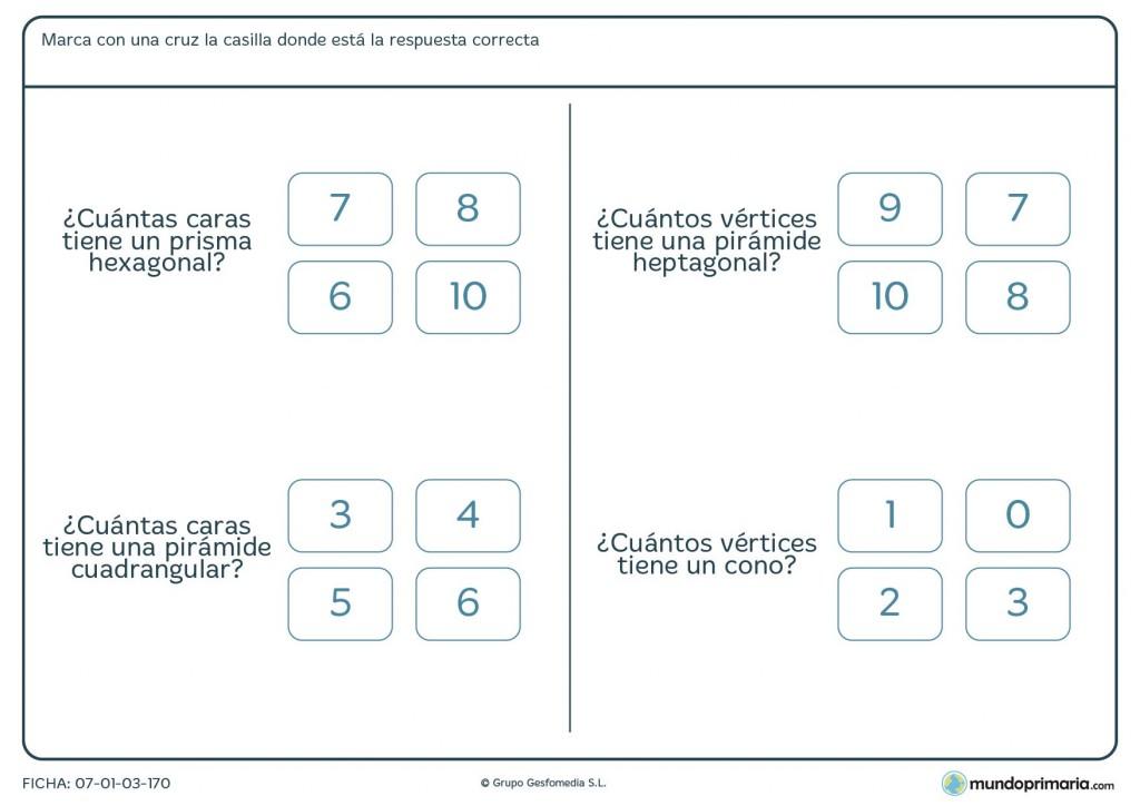 Ficha de caras y vértices de prismas para 5º de Primaria