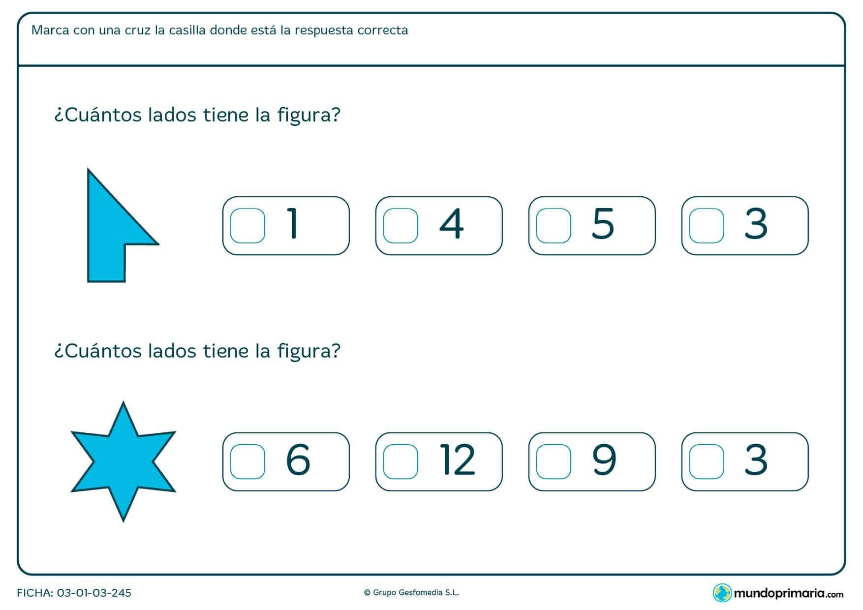 Observa las figuras de esta ficha, cuenta sus lados y marca la respuesta que corresponda.