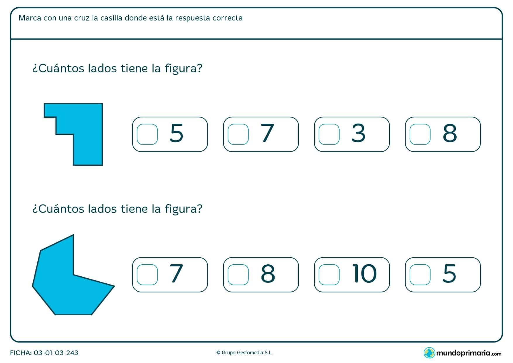 Mira bien estas figuras ¿Cuántos lados tienen? Marca la respuesta correcta.