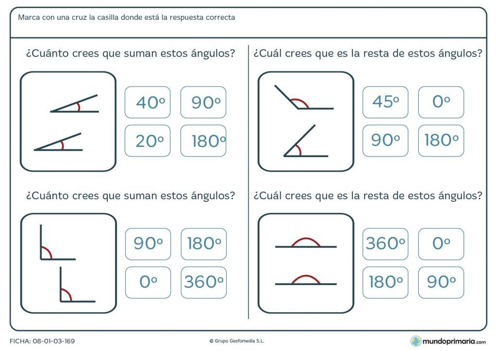Ficha de cuatro ejercicios de sumar ángulos para Primaria