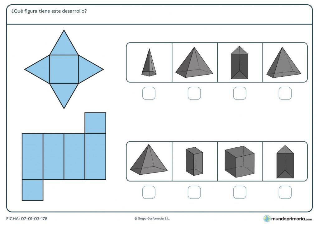 Ficha de identificar desarrollos de los prismas en 5º de Primaria
