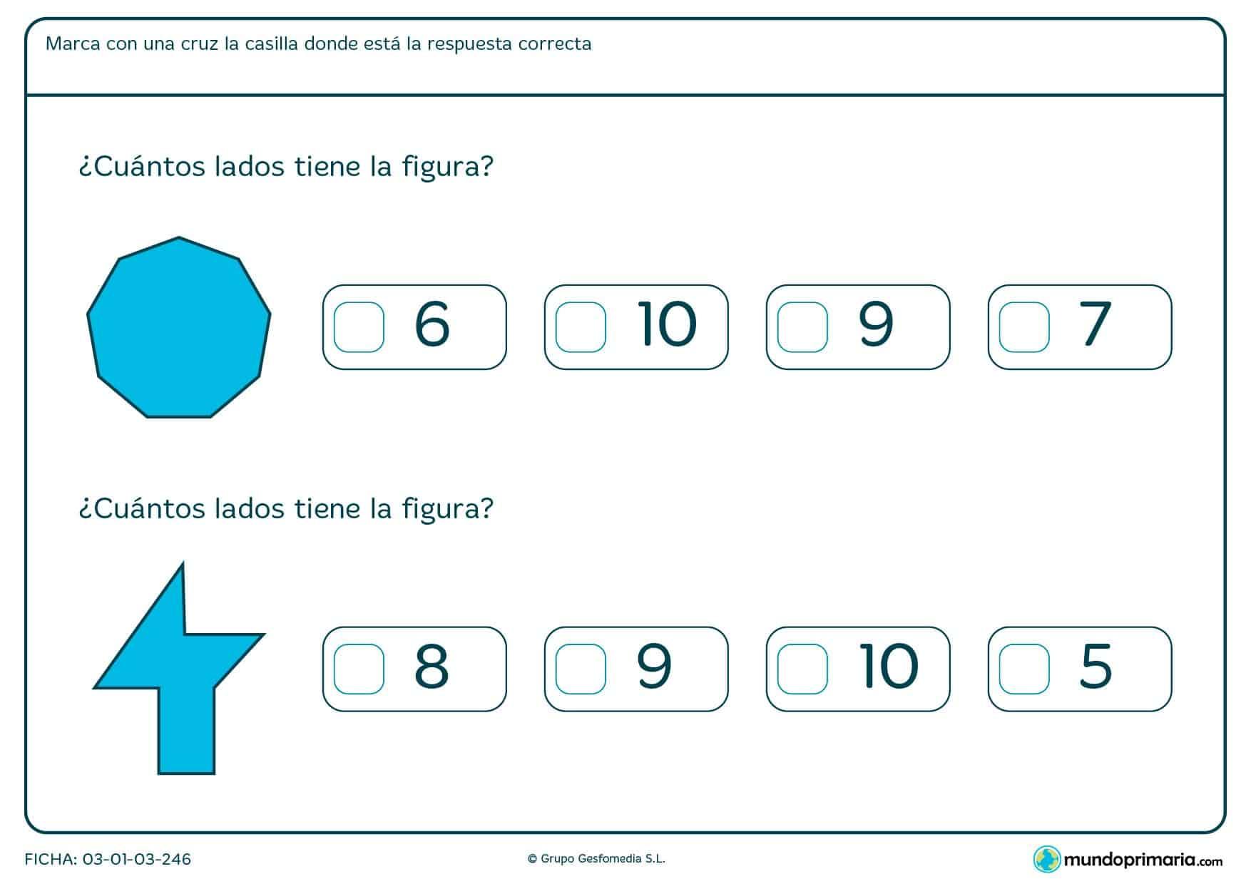 ¿Cuántos lados tienen estas figuras? Obsérvalas con atención y marca las respuestas correctas.