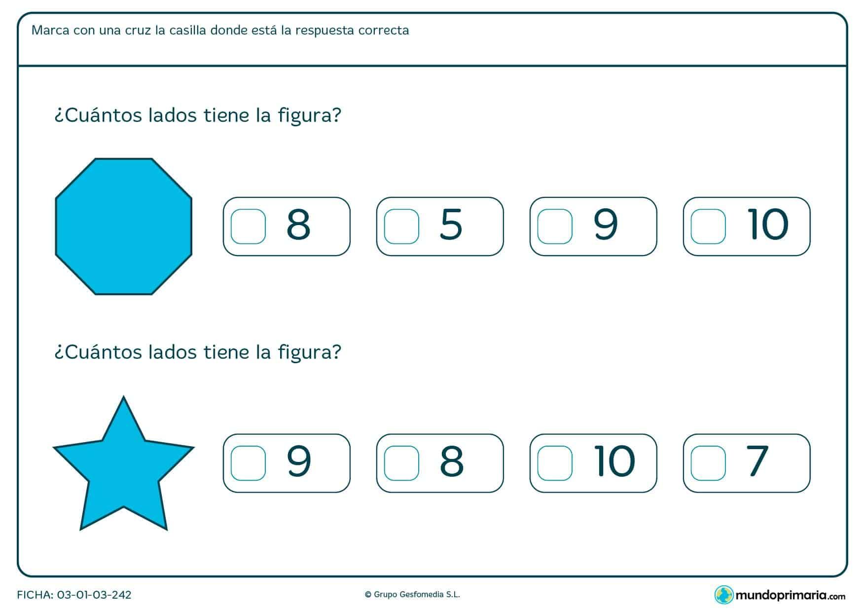 Observa las figuras e indica el número de lados que tiene.