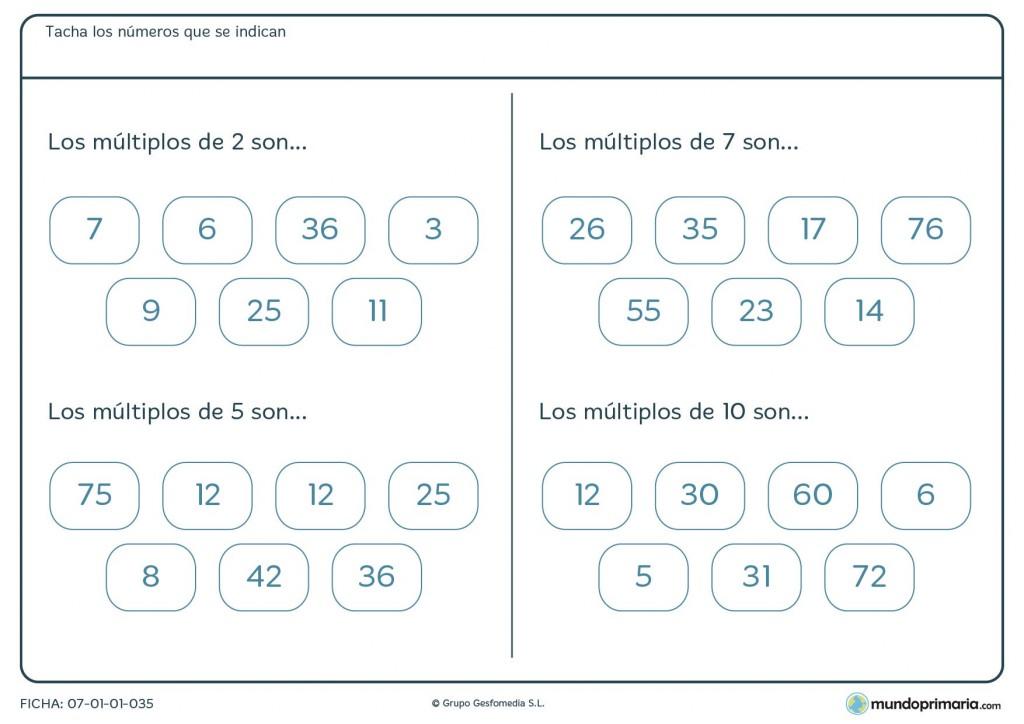 Ficha de los múltiplos de 2, 7, 5 y 10 para Primaria