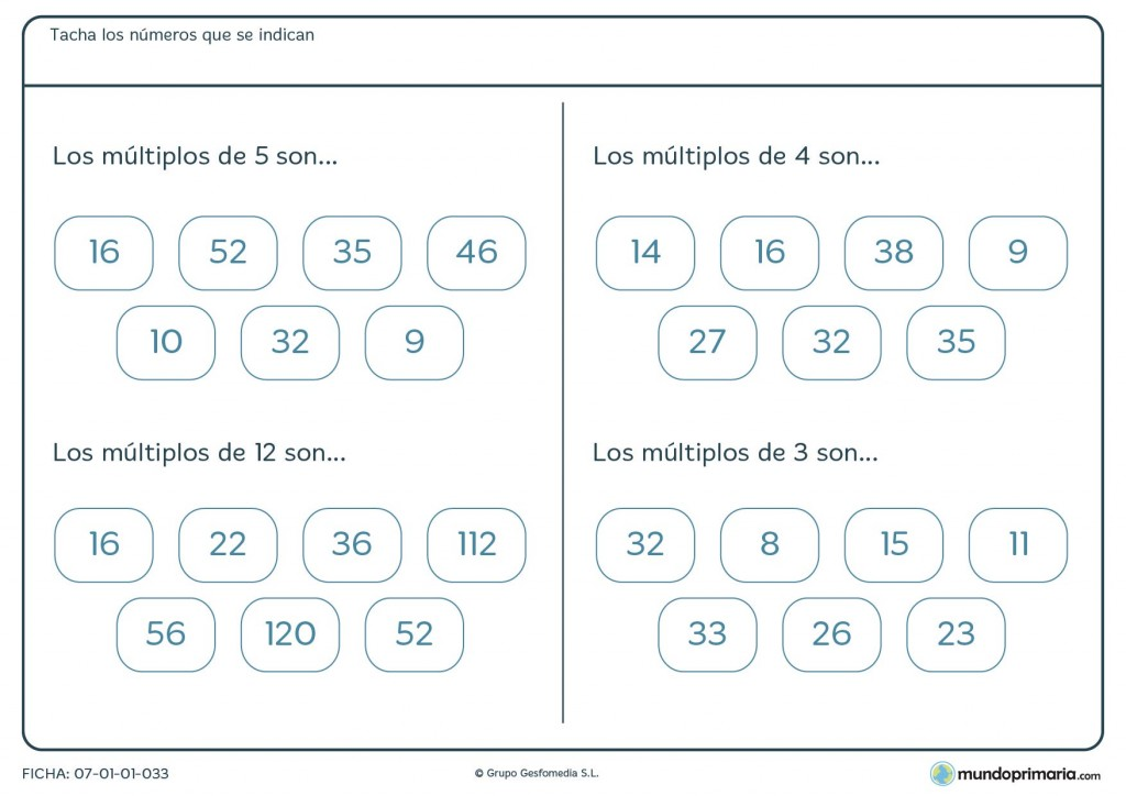 Ficha de múltiplos para niños de 5º de Primaria
