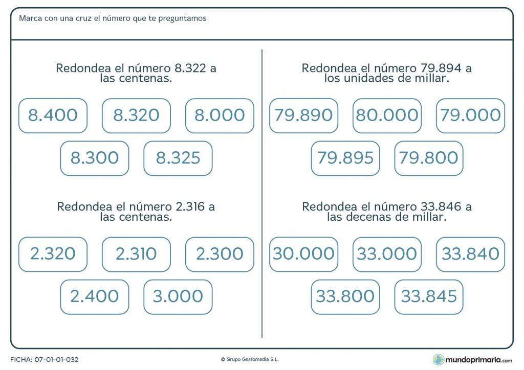 Ficha de marcar números redondeados para 5º de Primaria