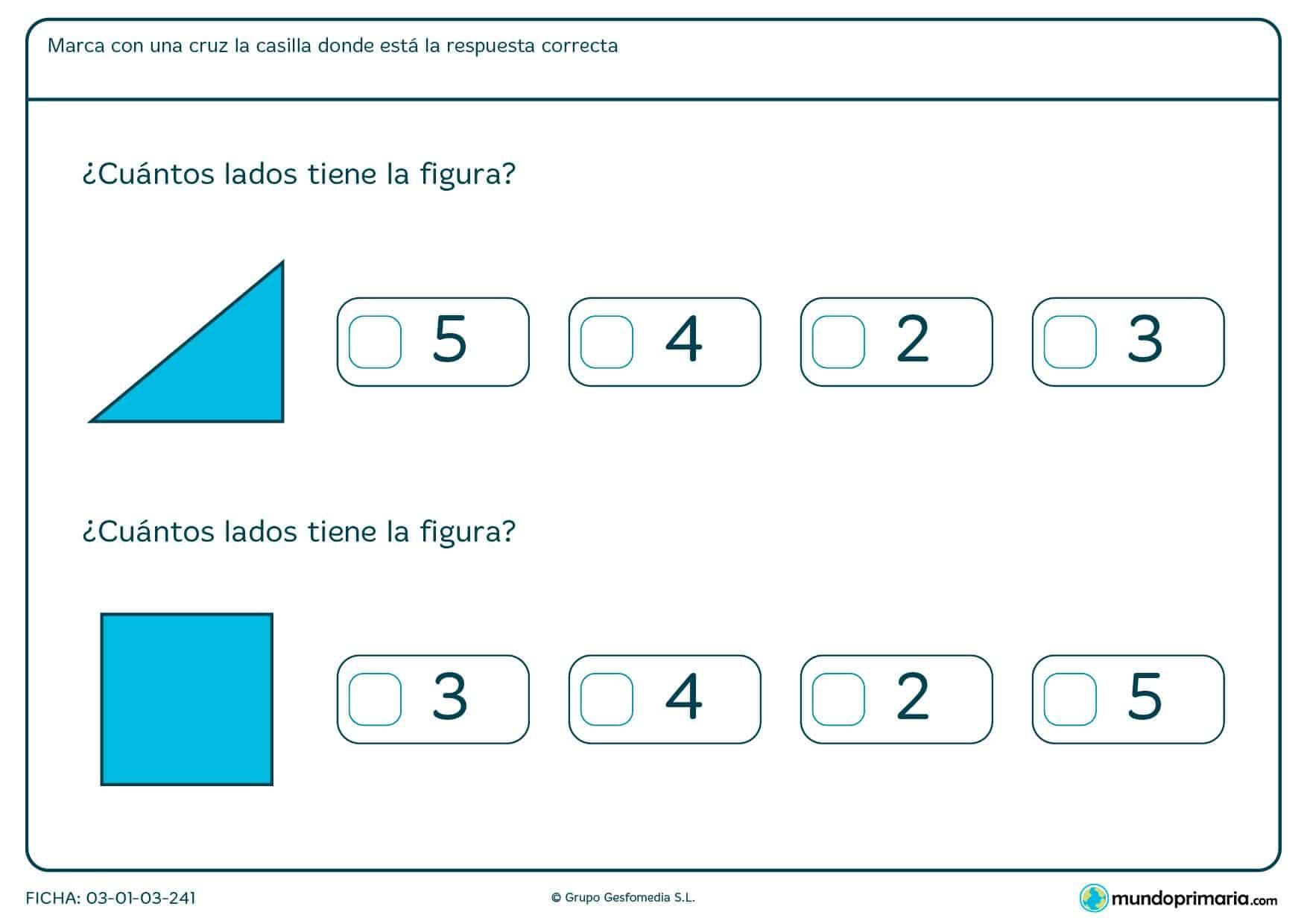 Cuenta los lados de la figura y marca la respuesta correcta.
