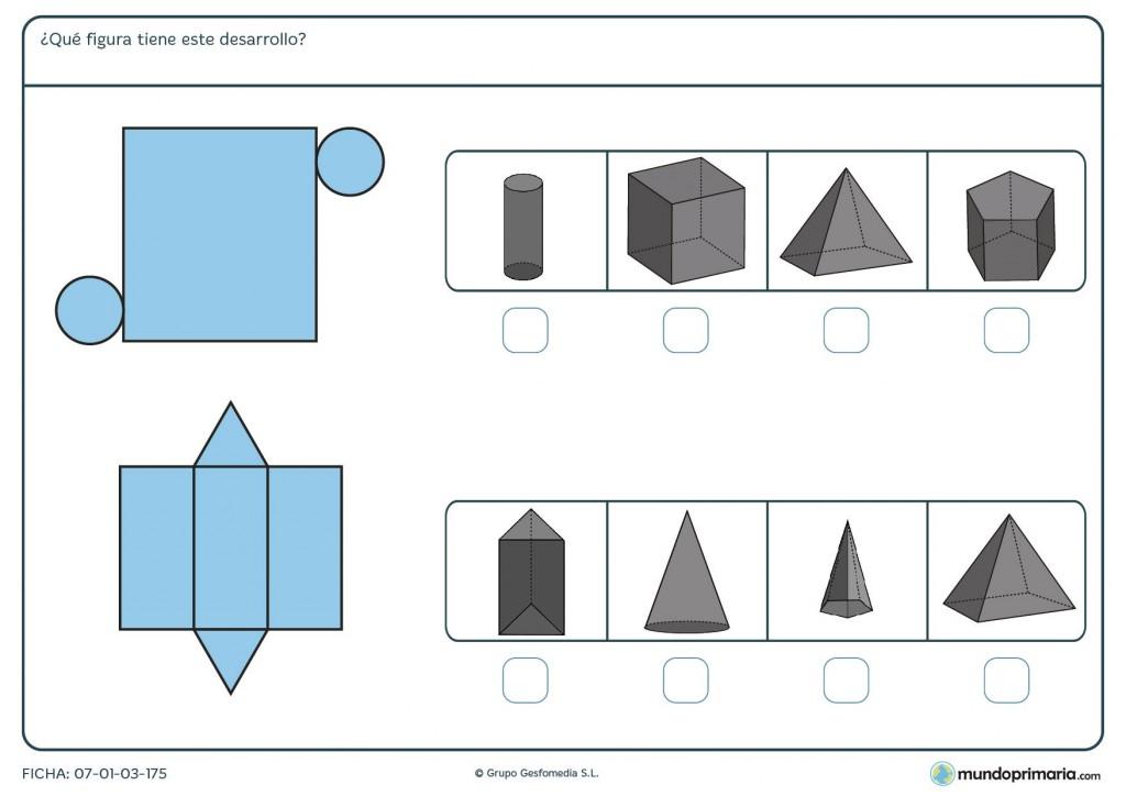 Ficha de prismas desarrollados para 5º de Primaria