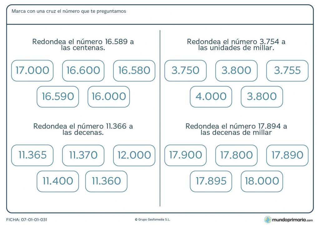 Ficha de redondeos de 5 cifras para Primaria